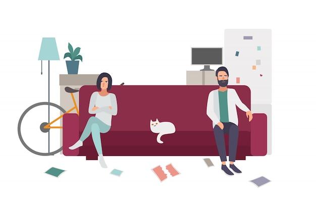 Divórcio, briga de família. casal no sofá se afastando. ilustração plana colorida.