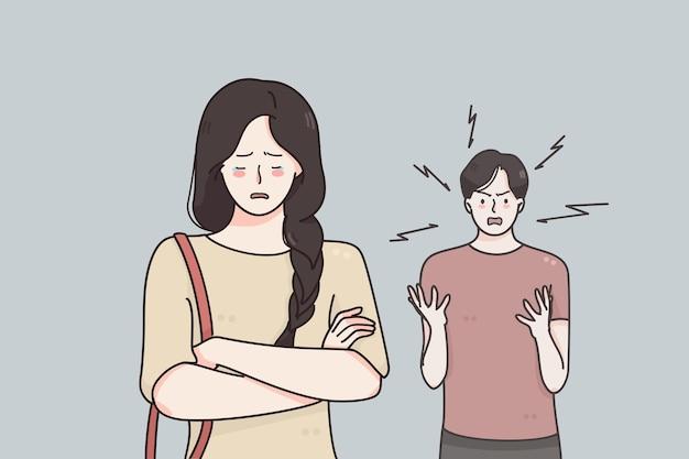 Divórcio de separação e conceito de briga