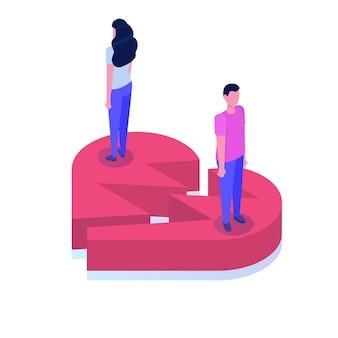 Divórcio, romper a ilustração isométrica do conceito de relacionamento.