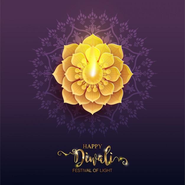 Diwali, deepavali ou dipavali, o festival das luzes da índia com ouro diya estampado e cristais em papel