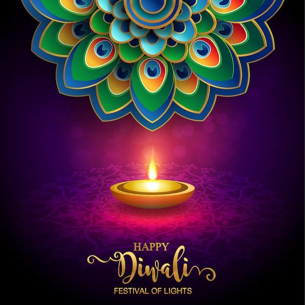 Diwali, deepavali ou dipavali o festival das luzes india com diya do ouro modelado e cristais na cor de papel fundo.