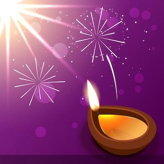 Diwali diya com fogos de artifício