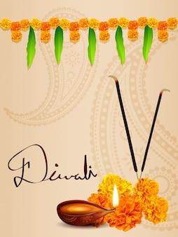 Diwali diya fundo com flores e folhas