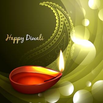 Diwali diya fundo verde brilhante