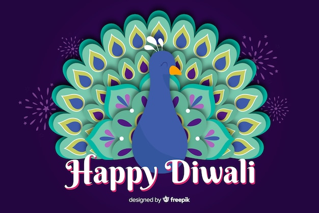 Diwali em plano de estilo de papel