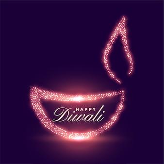 Diwali feliz criativo com brilho diya brilhante