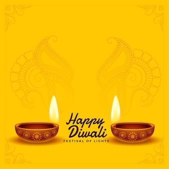 Diwali feliz deseja fundo com diya realista