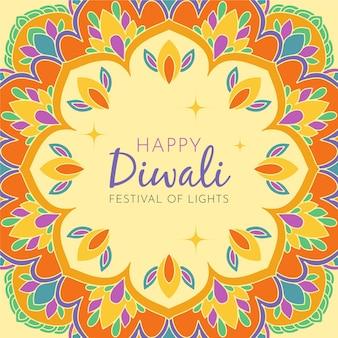 Diwali feliz desenhado à mão com flores de cores quentes