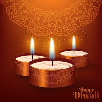 Diwali festival design template com lâmpada criativa