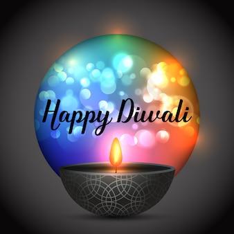 Diwali fundo com lâmpada em um fundo de luzes de bokeh