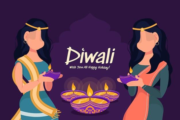 Diwali mulher segurando a lâmpada de óleo, feriado de diwali em fundo roxo, cartão de comemoração de diwali, vetor.