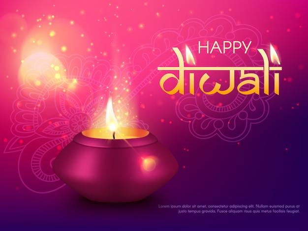 Diwali ou deepavali indiano feriado feliz, índia, fundo do cartão hindu diya. lâmpada de celebração do festival diwali ou deepwali e decoração de mandala rangoli, com vela dourada brilhante