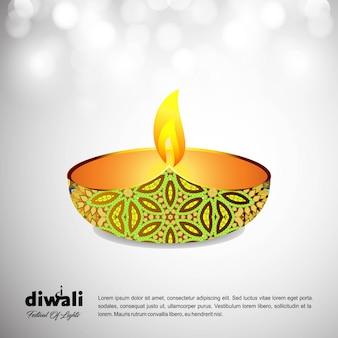 Diwali projeto luz de fundo e tipografia vector