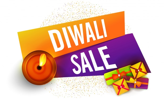 Diwali sale banner design com presentes e lâmpada de óleo.