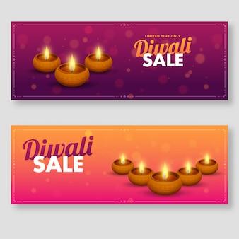 Diwali sale header or banner em duas opções de cores com lâmpadas de óleo aceso (diya).