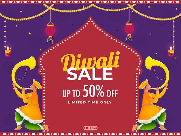 Diwali sale poster design com tradicional tutari players ilustração