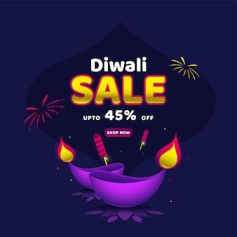 Diwali sale poster design e foguetes de fogos de artifício sobre fundo azul.