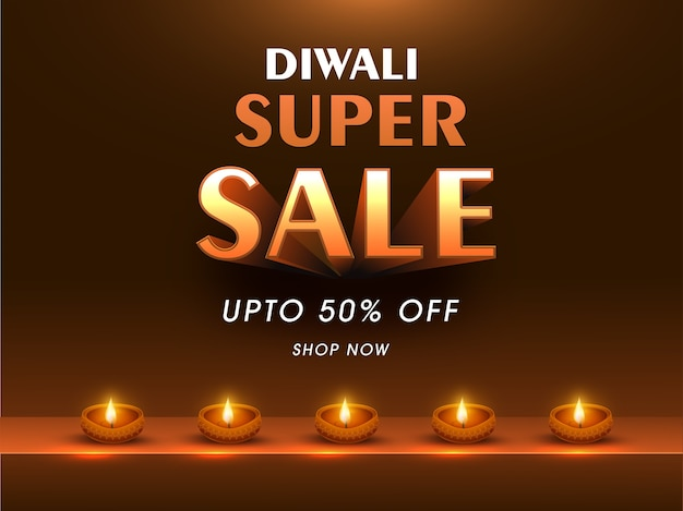Diwali super sale poster na cor bronze com lâmpadas de óleo acesas (diya). Vetor Premium