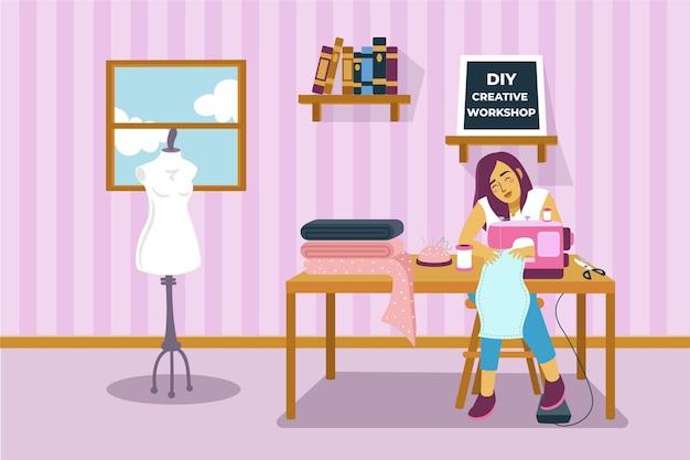 Diy oficina criativa mulher costura roupas