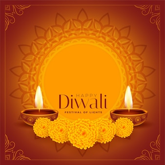 Diya decorativo feliz de diwali e fundo de flores