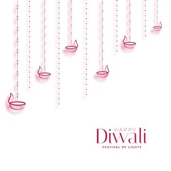 Diya decorativo feliz diwali no design de fundo branco
