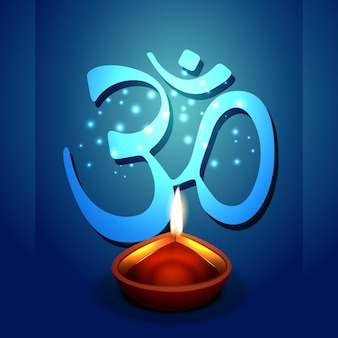 Diya diwali com fundo símbolo om