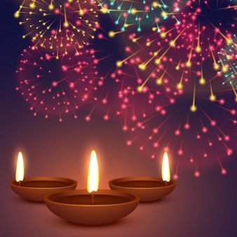 Diya do diwali com ilustração de fogos de artifício fundo