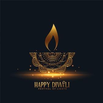 Diya dourado bonito feliz diwali