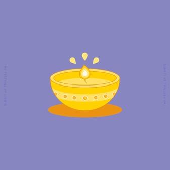 Diya ou lâmpada de argila no festival de diwali