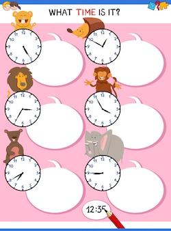 Dizendo atividade educacional de tempo com relógio