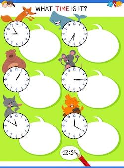 Dizendo atividade educativa de tempo com animais