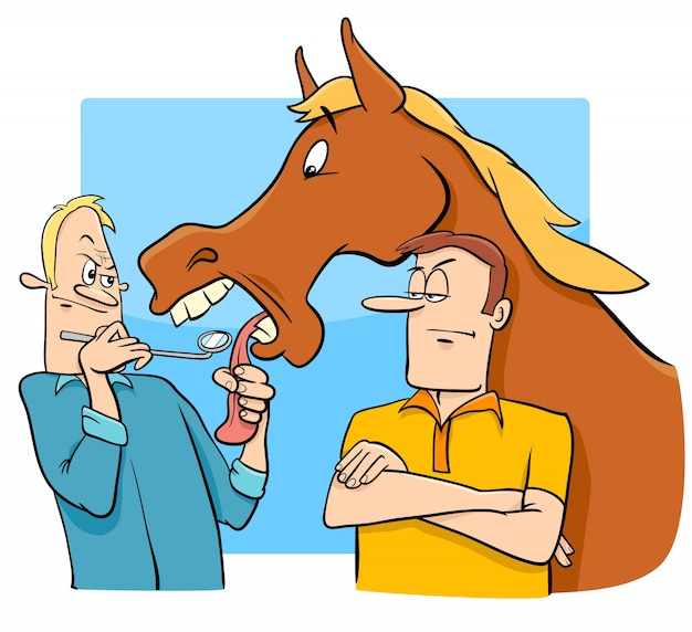 Dizendo que olha um cavalo de presente na boca
