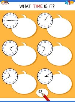 Dizendo tempo com atividade educacional de relógio