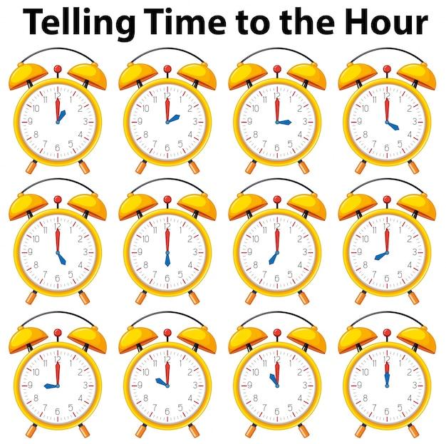 Dizendo tempo para a hora no relógio amarelo