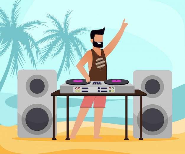 Dj com equipamento na praia tropical flat cartoon