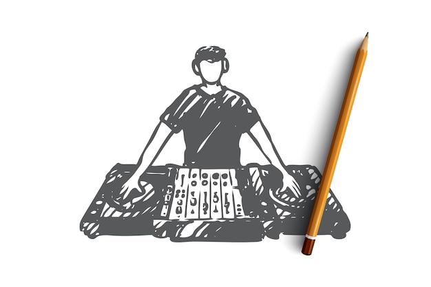 Dj desenhado à mão em esboço de conceito de boate