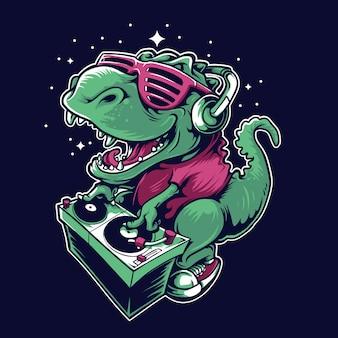 Dj dinosaurus tocando toca-discos