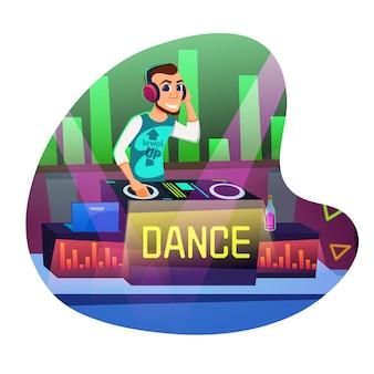 Dj disco dance cartoon plano.
