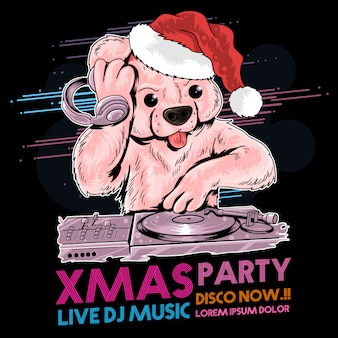 Dj do urso de peluche do natal