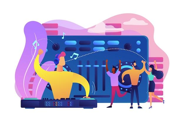 Dj em fones de ouvido no toca-discos tocando música e pequenas pessoas dançando na festa. música eletrônica, conjunto de música dj, conceito de cursos escolares de djing.