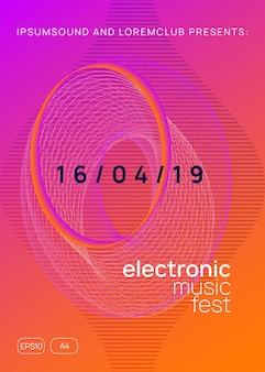 Dj event. layout de convite de show criativo. forma e linha de gradiente dinâmico. folheto de néon do evento dj. festa techno trance. electro dance music. som eletrônico. cartaz do clube fest.