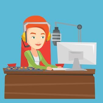 Dj feminino trabalhando na ilustração de rádio