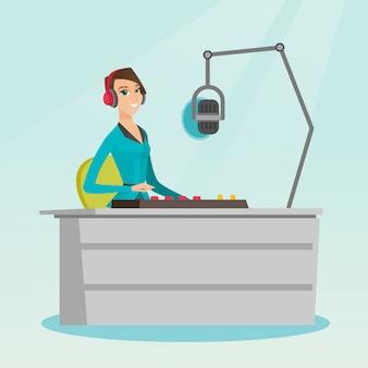Dj feminino trabalhando na ilustração vetorial de rádio