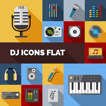 Dj icons set plano