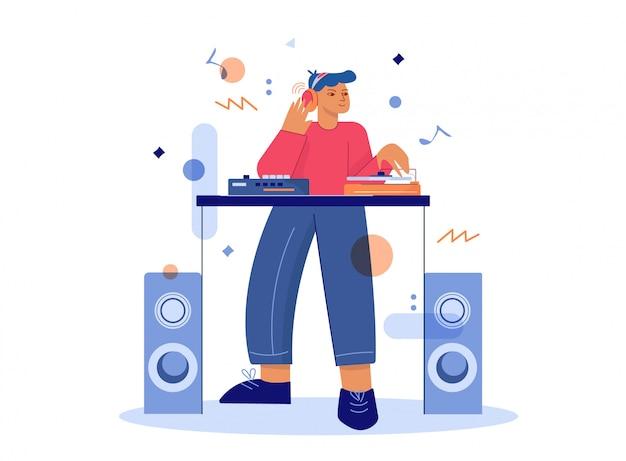 Dj masculino dos desenhos animados faz música na ilustração de misturador de toca-discos