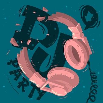 Dj party design com ilustração de fones de ouvido quebrados. eu sou um