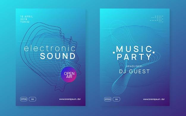 Dj party. forma e linha de gradiente dinâmico. conjunto de brochuras de discoteca digital. folheto de festa de dj de néon. electro dance music. techno trance. evento de som eletrônico. cartaz do clube fest.