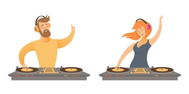 Dj toca e mistura música. personagem masculina e feminina em estilo cartoon, isolado no fundo branco.