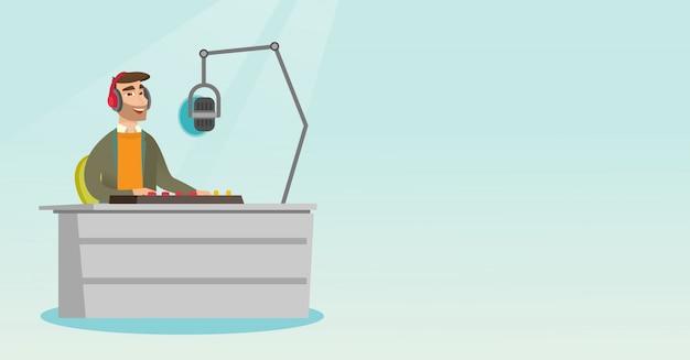 Dj trabalhando na ilustração vetorial de rádio