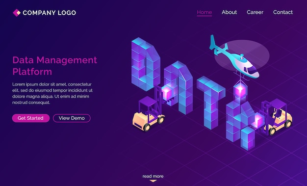Dmp, desembarque isométrico da plataforma de gerenciamento de dados